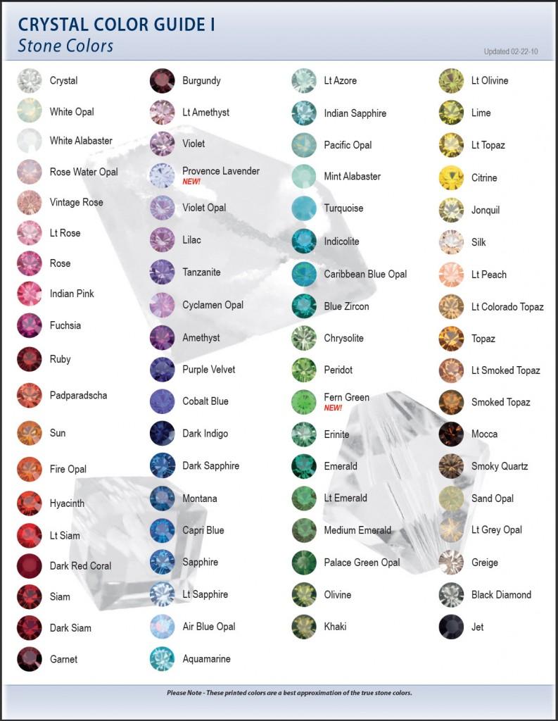 Swarovski Color Chart I Stone