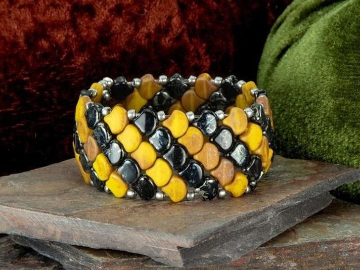 Two-Hole Ginkgo Leaf Bead Bracelet